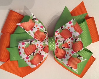 Fall Pumpkin Bow Green and Orange Pumpkin Bow Bow with Pumpkin Ribbon Triple Layer Pumpkin Bow Thanksgiving Hair Bow Pumpkin Bow with Dots