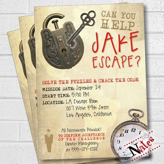 Escape Room Party Invitation Escape Room Party Escape Party