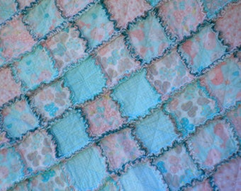 Bird, Bee & Butterfly Quilt, Baby Rag Quilt, Crib Blanket, Flannel Rag Quilt, Pink, Teal, Gray, Baby Shower Gift, Girl Quilt, Ready to Ship