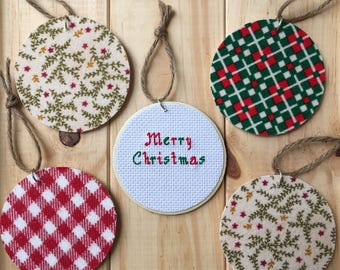 Merry Christmas Cross Stitch Ornament, Wooden Ornament, Christmas Ornament, Flannel Ornament