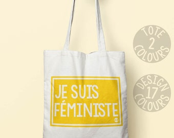 Je suis Féministe cotton tote shoulder bag, holdall bag, gift ideas for her, gift for women, mothers day, Canada, resistance, girl power