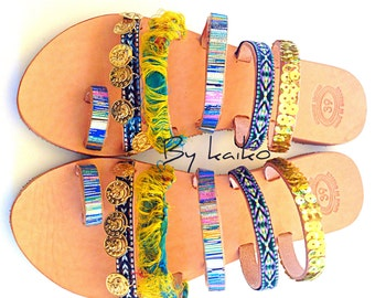 Handmade boho sandals,etnhic sandals,greece sandals,leather sandals,hippie sandals,bohemian Colorful sandals,