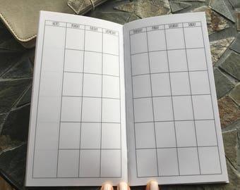 MONTHLY + HABIT Standard Travelers Notebook Inserts // Monthly Calendar// Habit Tracker //  Printed Planner