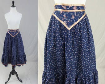 "70s Gunne Sax Skirt - Jessica's Gunnies - Blue Calico Pink Satin Ribbon - Eyelet Hem - Vintage 1970s - S 24"" waist"