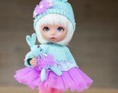 Turquose lilac Bunny outfit (sweater, skirt, hat, tights) for pukifee, lati yellow (1/8 bjd dolls)