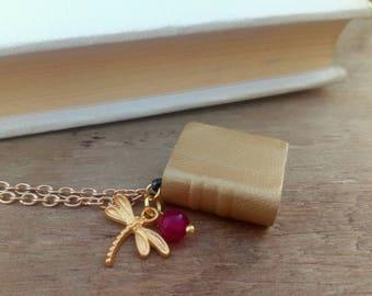 Dorada - miniature - book pendant - necklace gift nina Lee - Golden - Dragonfly pendant - necklace miniature - gold