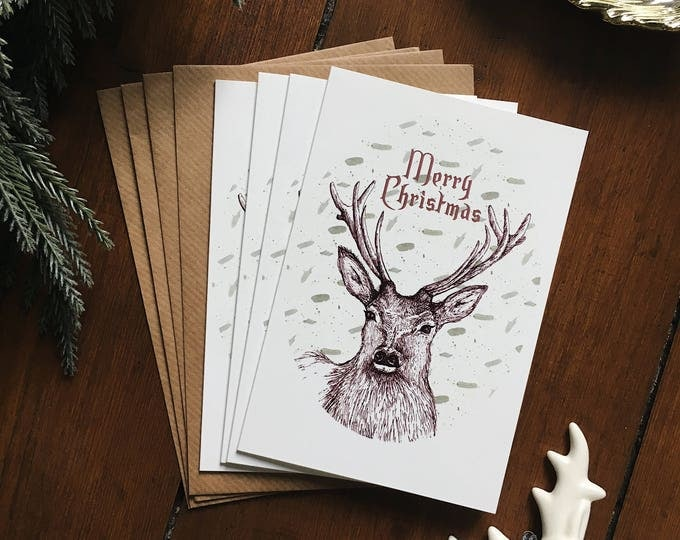 Illustrated Stag Christmas Card Set - Pack of 4