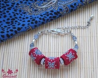 Unique jewelry Embroidered bracelet boho jewelry Birthday gift for women Bead bracelet jade jewelry bohemian bracelet burgundy jewelry gift