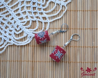 Boho earrings dangle earrings burgundy gray jewelry Gift for girlfriend gifts for wife bohemian earrings cross stitch jewelry unique jewelry