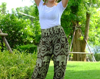 Hippie pants harem pants elephant pants cozy pants boho pants Green