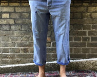 Vintage 1960s French Workwear Chore Pants Trousers