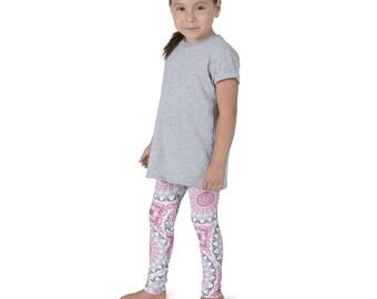Girls Boho Leggings, Pink and Gray Yoga Pants for Kids, Children's Leggings