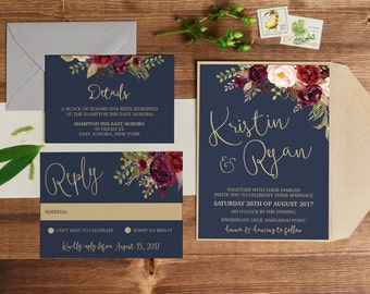 Wedding Invitation | Printable Wedding Invitation | Wedding invitations | Navy Gold Marsala Wedding | Wedding Invites | Lucy Suite