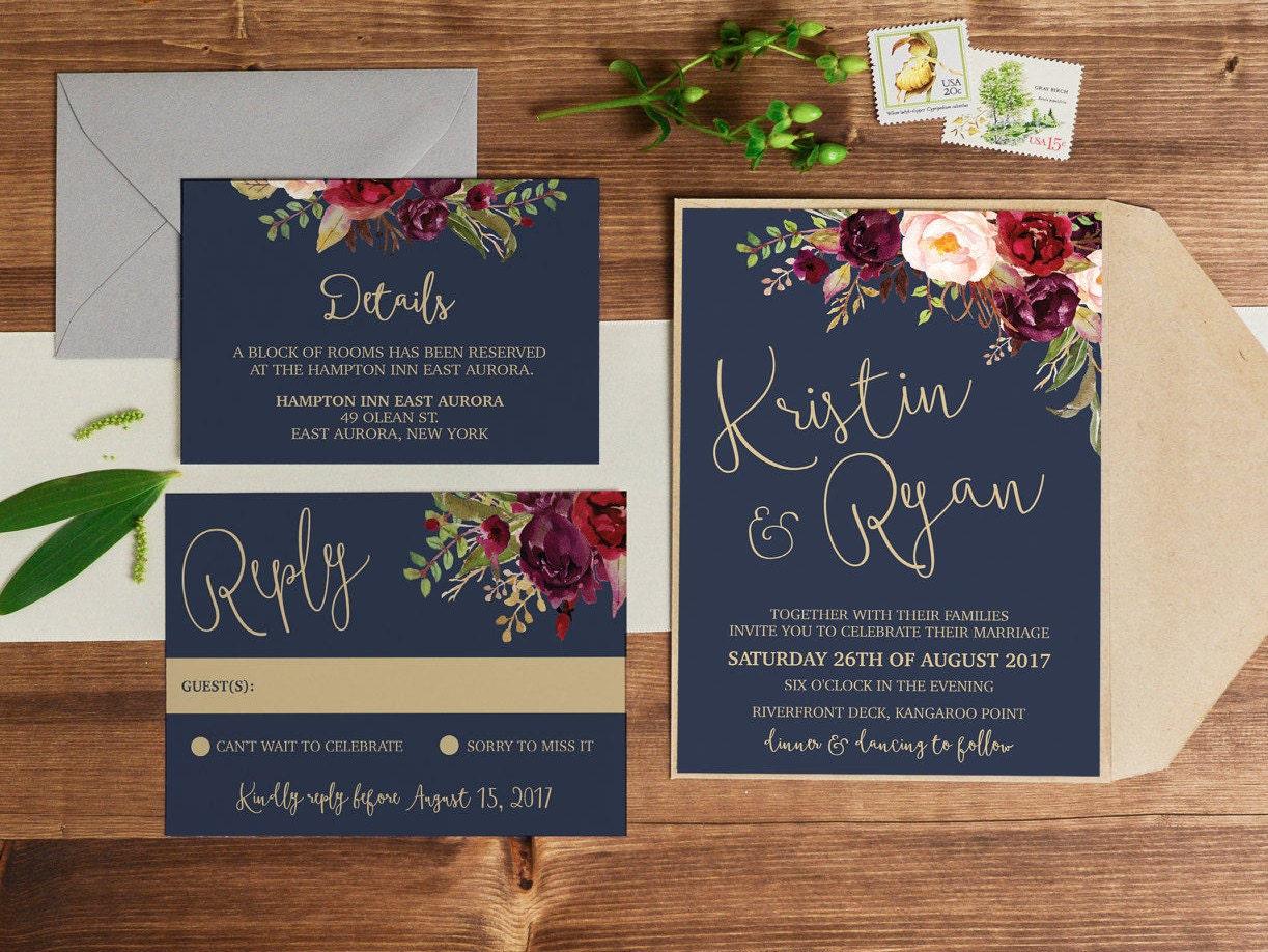 Print Out Wedding Invitations: Wedding Invitation Printable Wedding Invitation Wedding
