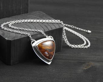 Golden Pietersite pendant, Artisan jewelry, silver pendant,  Boho jewelry, One of a kind, silver jewelry, gift for her, Silver jewelry