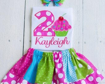 Cupcake birthday outfit, cupcake birthday shirt, cupcake party outfit, girls personalized birthday outfit