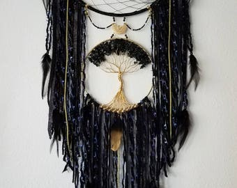 Large Black Tourmaline Tree of Life Dream Catcher/Wall Hanging/Room Decor