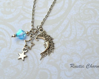 Personalized Bithstone Crystal Moon And Stars Charm Necklace
