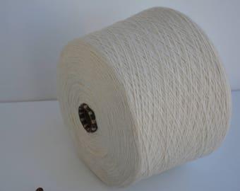 Cotton yarn Ecru on cone 1150gr / 40,56 Oz // NM 2/15 ,Light Cream Spool yarn, Machine yarn, Cone Yarn, Thread yarn, knitwear Yarn