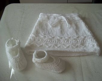 skirt and booties - handmade 0/3 months baby knit-