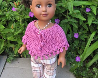 "Handmade 18"" American Girl/Journey Girl Doll Clothes, crocheted poncho, recycled pants, recycled necklace & headband"