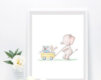 Kids room decor, gender neutral baby nursery, animals prints, watercolor nursery art,  elephant print, safari nursery decor