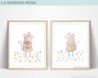 Woodland nursery art, set of 2 prints, kids room decor, mouse illustration