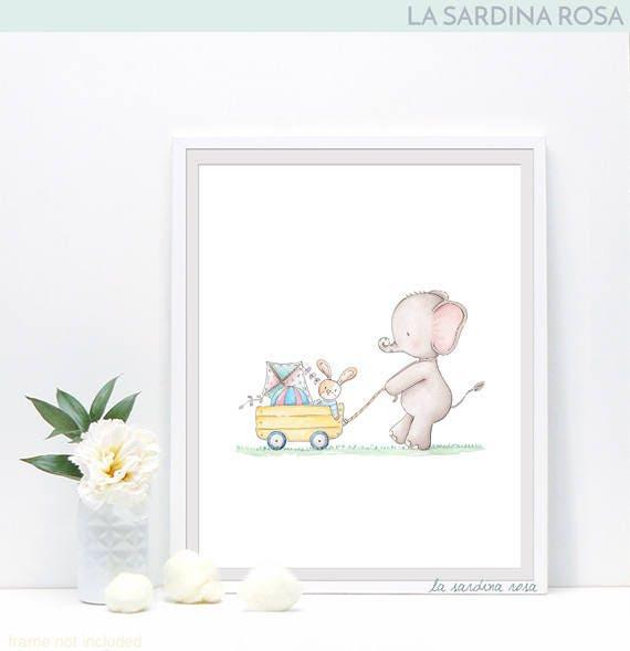 Elefante acquerello stampe cameretta bambini quadretti - Quadri per camera bambini ...