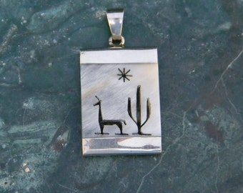 Mexico Silvertone Vintage Desert Scene Pendant Painted Abalone Shell Inlay G23
