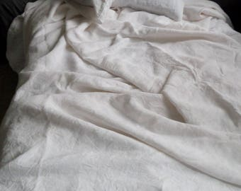 White linen set 3pcs:duvet cover+two pillowcases natural eco friendly linen bedding washed linen soft bedding gift for women white bedding