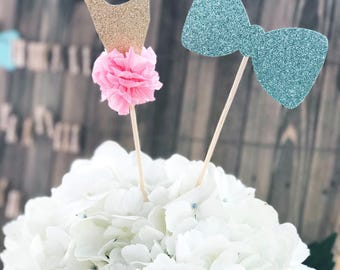 Tutu and Bowtie Gender Reveal Centerpiece / Cake Toppers