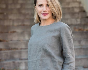 Linen top. Relaxed linen blouse with sleeves. Loose fit linen top for autumn and winter wear