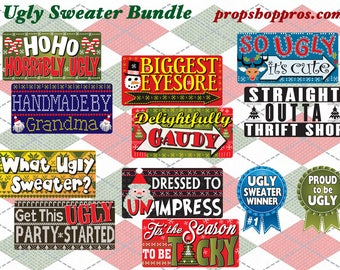 Ugly Sweater Signs | Christmas Signs | Photo Booth Props | Themed Props