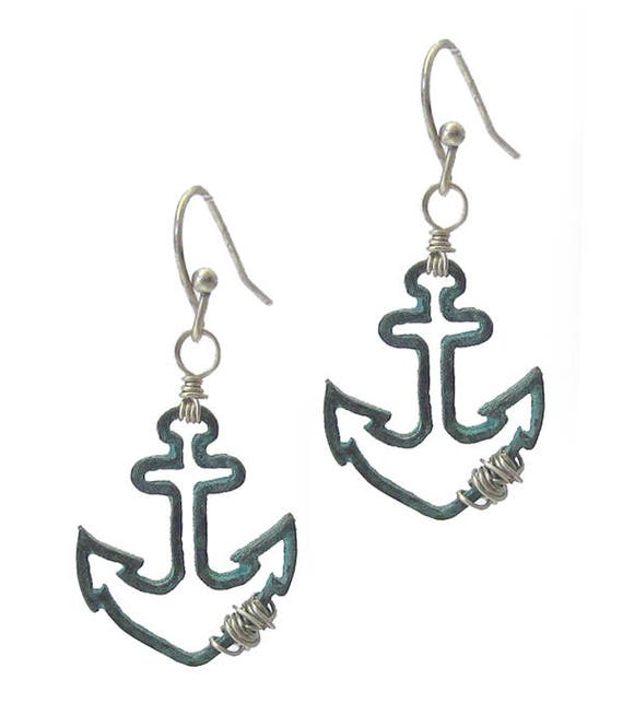 WHOLESALE-Wire Anchor Earrings , Turquoise- Silver &  Gold- Silver