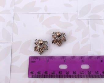 Leaf Earrings - Gold and silver Leaf Earrings - Leaves - Vintage - Earrings - Vintage Earrings - Nature Earrings - Leaf Jewelry - Costume