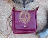 Burgundy Leatherette Mjolnir bag with golden chain strap