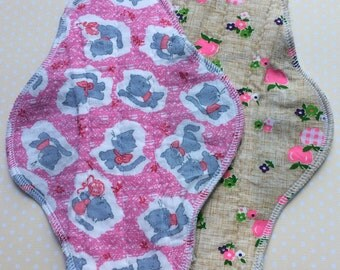 """2 pc Set 9"""" & 10"""", Priced to Sell, Reusable Cloth Pads, Retro Inspired Fabrics, Ready to Ship, As Seen"""