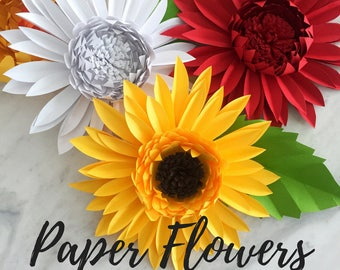 Paper gerbera daisy template | paper flower template | paper flower backdrop | flower backdrop DIY | chrysanthemum template | paper flower