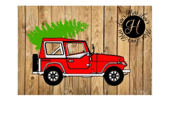 Jeep with Christmas tree  SVG DFX Cut file Christmas  cut file Red Truck Christmas tree Wood sign decal