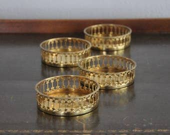 Vintage Brass Wine Coasters - Made in Italy