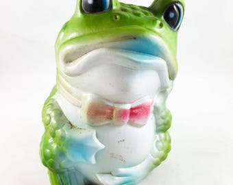 Molded Plastic Froggy Piggy Bank Collectible Kitsch Frog Bank