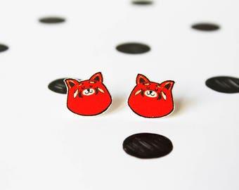 Red panda earrings