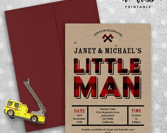 Lumber Jack Little Man Baby Shower Invitation | 5x7 | Editable PDF File | Instant Download | Personalize at home with Adobe Reader