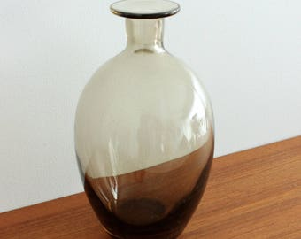 Mid Century Modern, Smokey Glass Bottle Decanter, Vintage Flower Vase, MCM Art Glass
