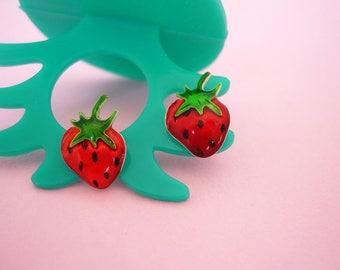Sterling Silver Strawberry Earrings Strawberry Stud Earrings Strawberry Jewelry Strawberry Jewellery Fruit Jewelry by Dialecti Paslidou