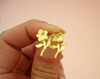 Gold Flower Earrings Flower Jewelry Flower Jewellery Flower Gift by Dialecti Paslidou