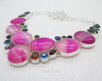 Pink Lace Agate Blue Topaz Garnet Peridot Sterling Silver Necklace
