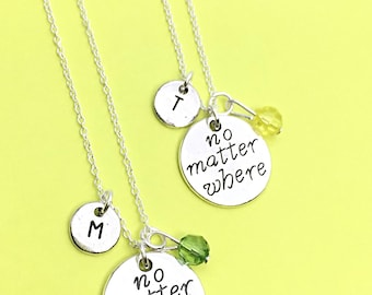 No Matter Where, Distance Necklace, Engraved Charm, Matching Necklace Set of Two, Custom Necklace, Friendship Jewelry, Personalized, Initial