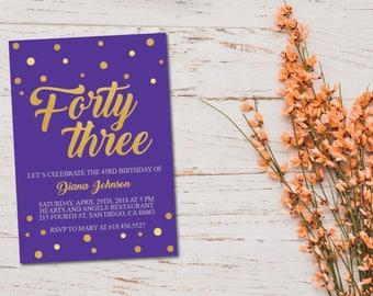 Th Birthday Invitations Purple Etsy - Purple birthday invitations template