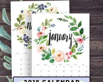 Calendar Printable 2018, Floral Wreath, Watercolor Handlettering Style, Desk Calendar, Wall Calendar, Letter Size, A4, 8x10 inches